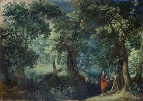 Antonis Mirou: Waldlandschaft mit der Versuchung Christi