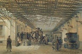 Ludwig (Louis) Premazzi: Die Abfahrt einer Postkutsche von der St.Petersburger Station