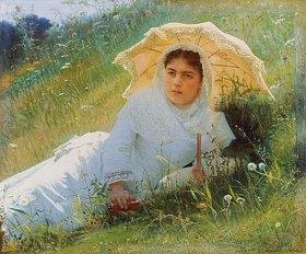 Iwan Kramskoi: Junge Frau bei der Mittagsrast in einer Sommerwiese