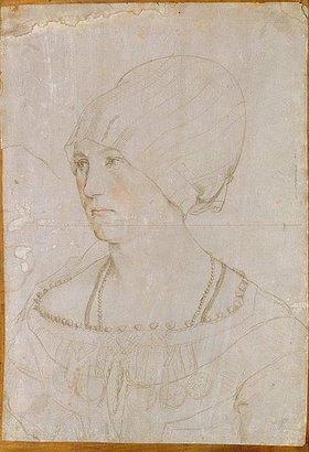 Hans Holbein d.J.: Dorothea Kannengiesser. Vorzeichnung zum Gemälde von