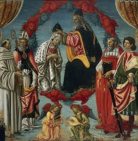 Francesco Botticini: Die Krönung Mariae, mit Heiligen und musizierenden Engeln