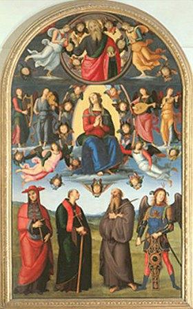 Perugino (Pietro Vanucci): Die Himmelfahrt Mariae, umgeben von Engeln und Heiligen