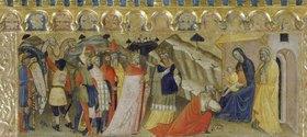 """Pietro di Miniato: Die Anbetung der Könige. Predella des Polyptichons """"Krönung Mariae"""""""