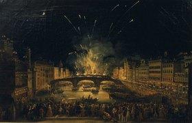 Giovanni Signorini: Feuerwerk über der Ponte alla Carraia in Florenz am Feste Johannes d. Täufers