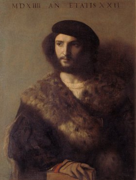 Tizian (Tiziano Vecellio): Bildnis eine kranken Mannes im Pelz. 1514(?)