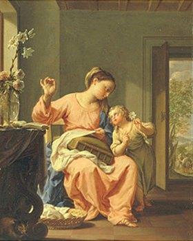 Francesco Trevisani: Die handarbeitende Maria mit dem Jesusknaben