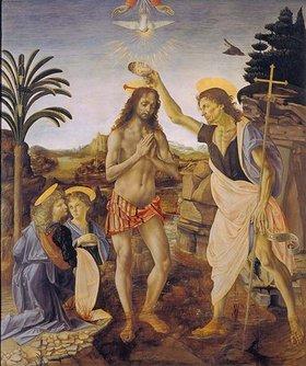 Andrea del Verrocchio: Die Taufe Christi. 1469/1480. Ausgeführt zusammen mit Leonardo da Vinci