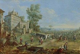 Römisch: Ideale Landschaft mit Weinlese. (1. Hälfte 18. Jahrhundert)