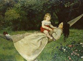 Hans Thoma: Frau mit Kind in der Hängematte