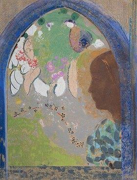Odilon Redon: Frauenprofil im Fenster