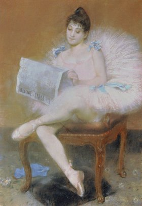 Pierre Carriere-Belleuse: Sitzende Ballett-Tänzerin beim Lesen einer Zeitung