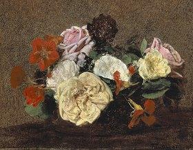 Henri de Fantin-Latour: Rosen und Kapuzinerkresse in einer Vase