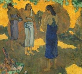 Paul Gauguin: Drei Tahitierinnen vor gelbem Hintergrund