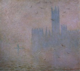 Claude Monet: Möven im Dunst vor dem Palast in London