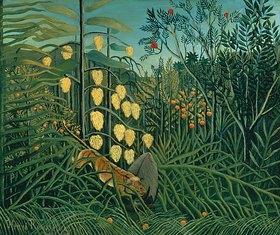 Henri Rousseau: Kampf zwischen Tiger und Büffel im Tropenwald