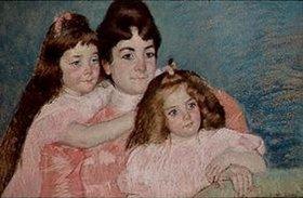 Mary Cassatt: Madame A.F.Aude mit ihren beiden Töchtern