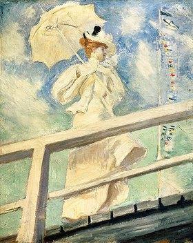 Paul César François Helleu: Frau in weißem Kleid mit Sonnenschirm