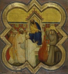 Taddeo Gaddi: Der heilige Franziskus bietet dem Sultan die Feuerprobe an. Gegen