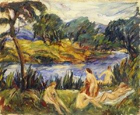 Gustave Colin: Badende Frauen an einem Fluss