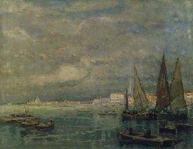Karl Hagemeister: Blick auf Venedig mit Segelbooten