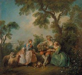 Nicolas Lancret: Der Vogelkäfig. (Les Amours du Bocage)
