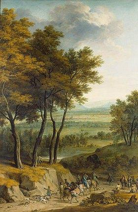 Franz-Joachim Beich: Landschaft mit Sicht auf München und heimkehrender Jagdgesellschaft