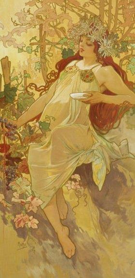 """Alfons Mucha: Herbst. (Aus der Serie """"Jahreszeiten"""")"""
