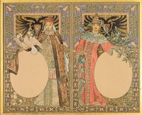 Alfons Mucha: Buch-Illustration mit Frauen in Tracht