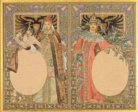 Alfons Mucha: Buch-Illustration mit Frauen in Tracht