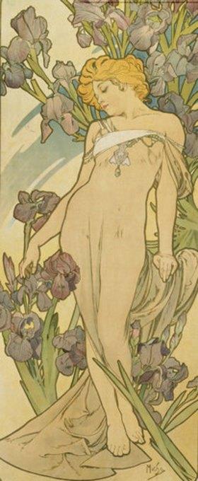 """Alfons Mucha: Iris. (Aus der Serie von Dekorationstafeln """"Blumen)"""