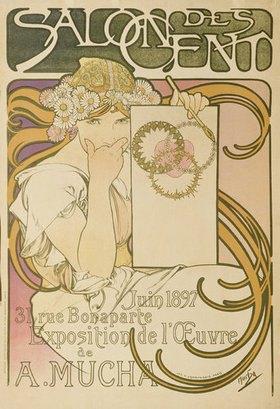 Alfons Mucha: Plakat für die Ausstellung 'A. Mucha' im 'Salon des Cent'