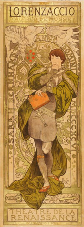 Alfons Mucha: Plakat für A. de Musset´s 'Lorenzaccio' in Paris