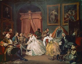 William Hogarth: Morgendlicher Empfang der Comtesse. Aus der Serie: Marriage a la mode