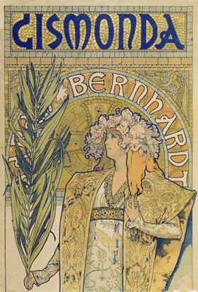 Alfons Mucha: Plakat: Sarah Bernhardt als 'Gismonda' im Theater de la Renaissance (oberer Teil)