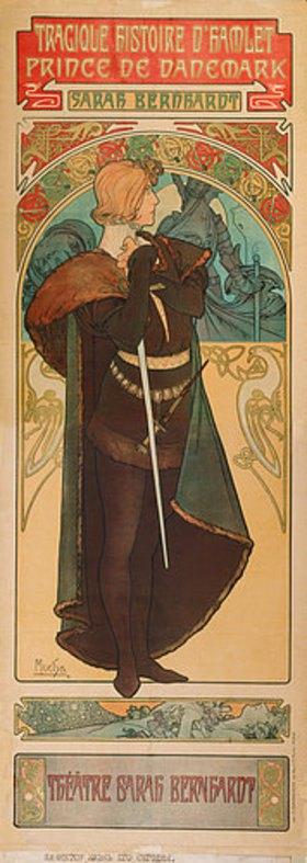 """Alfons Mucha: Plakat für """"Hamlet"""" im Theater Sarah Bernhardt"""