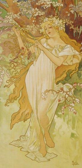 """Alfons Mucha: Frühling (aus der Serie """"Jahreszeiten"""")"""