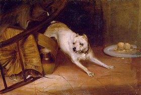 Briton Riviere: Hund, eine Ratte jagend
