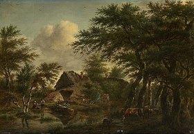 Jan Hulswit: Landschaft mit Gehöft unter Bäumen