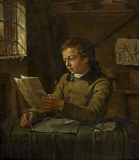 Jan Ekels d.J.: Ein junger Zeichner in seinem Arbeitszimmer beim Zeichnen
