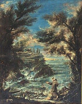 Alessandro Magnasco: Der Hl. Antonius predigt den Fischen