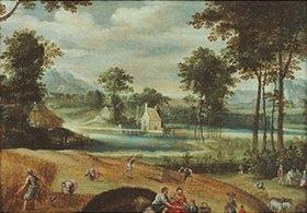 Jacques Fouquier: Landschaft mit Getreide-Ernte