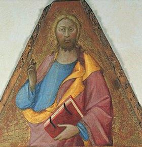 Lippo Memmi: Segnender Christus. Spitze eines Polyptychons