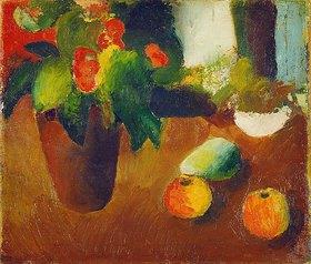 August Macke: Stilleben mit Begonie, Äpfeln und Birne