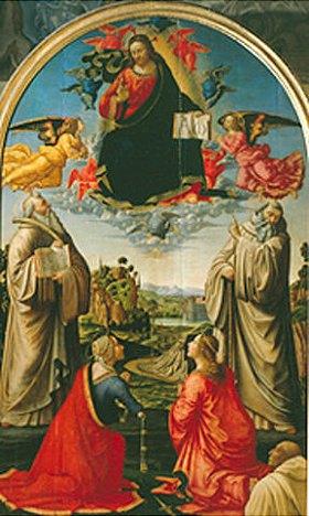 Domenico (T.Bigordi) Ghirlandaio: Segnender Christus in der Glorie mit Heiligen und dem Stifter Giusto Bencini