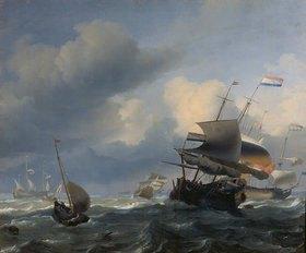 Ludolf Backhuyzen: Meereslandschaft mit Segelschiffen