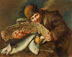 Giacomo Ceruti: Knabe mit einem Korb voller Meerestiere