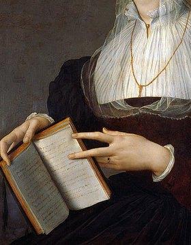 Agnolo Bronzino: Bildnis der Laura Battiferri, Detail: Buch und Hände