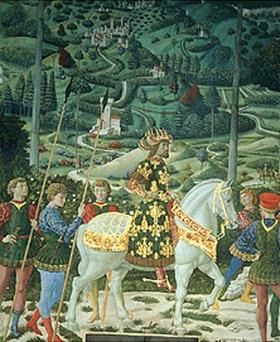 Benozzo Gozzoli: Der Zug der Hl. Drei Könige. Detail: Reitender König