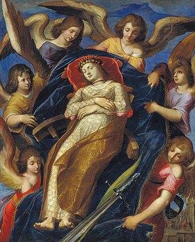 Jacopo Ligozzi: Die Hl. Katharina wird von Engeln getragen