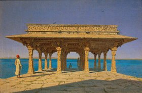 Wassili Werestschagin: Abend am See, mit indischem Tempel